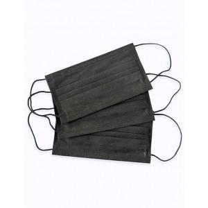Маски 3-слойные черные 50 штук