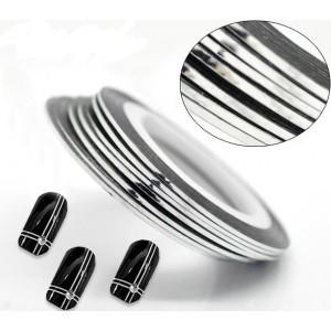 Лента для дизайна ногтей серебро